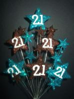 Star age 21st birthday cake topper decoration in teal and choc - free postage